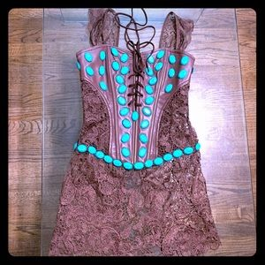 Turquoise stones corset. Burning Man outfit.